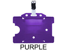 Purple ID Badge Card Holder Work Pass Single Sided Landscape & Metal Clasp Clip