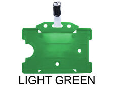 Light Green ID Badge Card Holder Pass Single Sided Landscape & Metal Clasp Clip