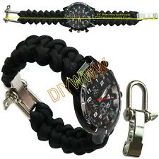 Custom Paracord 550 Watch band with Stainless Steel Adjustable Bow Shackle