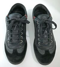 100% GENUINE GUCCI MENS BLACK SUEDE & LEATHER TRAINERS UK 8 41