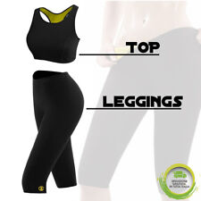 TOP + PANTALONE LEGGING SNELLENTE DONNA HOT SHAPERS TRAINING DIMAGRANTE PALESTRA