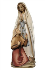 Our Lady of Lourdes with Bernadette statue woodcarving -  made in Italy