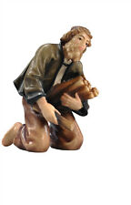 Shepherd at camp fire, statue wood carving for Nativity set mod. 912