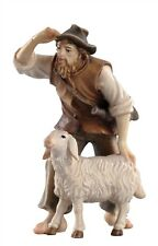 Shepherd with sheep, statue wood carving for Nativity set mod. 912