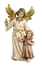 Guardian angel with girl, statue wood carving for Nativity set mod. 912