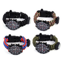 Outdoor Survival Watch Rope Paracord Lanyard Fire Starter Compass Whistle Wrist