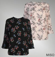 Ladies Branded Miso Stylish Lightweight Top Round Neck Printed Blouse Size 12-18