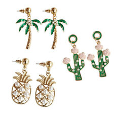 DR7 Pineapple Coconut Tree Cactus Pendant Earrings Women Ear Studs Jewelry Utili