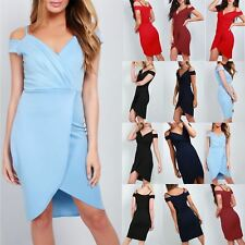 Womens Strappy V Neck Front Wrap Over Asymmetric Cold Cut Shoulder Bodycon Dress