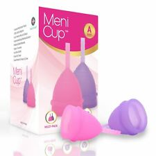 Meni Cup Menstrual Cup - Set of 2 Size A/B (Large/Small) Free Carry Bag