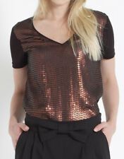 Monsoon Black/Copper Sequin Embellished Front T-Shirt - Size 8 to 16 - BNWOT