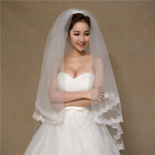 2 Layers Wedding Bridal Veil Cathedral Lace Short Edge Comb Veils Accessories