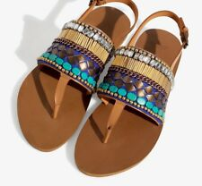 ZARA REAL LEATHER EMBELLISHED BEADED JEWELLED AZTEC SANDALS all sizes NEW