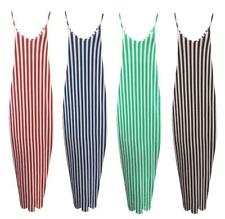 Womens Summer Strappy Striped Loose Ladies Holiday Beach Casual Long Maxi Dress