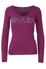 GR 103980 Ciclamino maglia donna guess ines basic sweater logo w74r80 z1oi0 gues