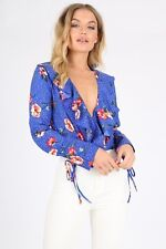 New Womens Ladies Floral Print Ruffle Plunge Neck Wrap Over Bodysuit Blouse Top