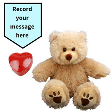 """Record a 20 Second Personalized Message in a Fluffy Beige Teddy Bear 40cm/16"""""""