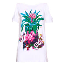 PR 115467   JUST CAVALLI T-SHIRT DONNA WHITE/MAGENTA