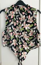 Urban Outfitters Black Pink Hawaiian Tie Front Crop Top Blouse UK L 36CH RRP £28
