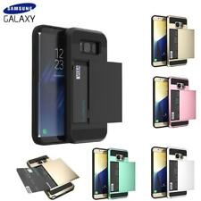 Shockproof Card Holder Wallet Hard Case Cover for Samsung Galaxy S7 S8 + S9 plus