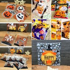 100Pcs Halloween Party Cookies Sweet Candy Biscuit Gift Self-Adhesive Bag 6E65