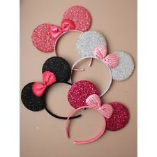 Sparkly Glitter Mouse Ears With Bow On An Aliceband Headband Hair Accessories