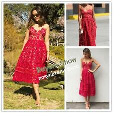 Sleeveless Midi Femme Sexy Red Lace Skater Dress Women's A-Line Dresses Ladies