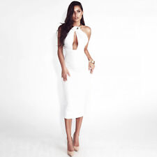 Bodycon Dresses Women Off Shoulder Choker Long Pencil Dress Sexy Backless Split