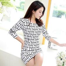 Casual Dresses Long Sleeve Plaid Sexy Women O-Neck Mini Dress Plus Size Vestidos