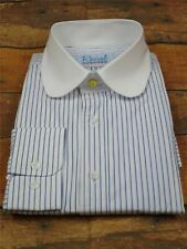 Penny Round Club Collar Blue Stripe Shirt | 1920s Peaky Blinders Vintage Style