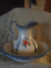 Vntg~Antq Hand-Painted Porcelain Embossed Victorian Pitcher & WashBowl Basin Set