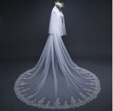 Bridal Wedding lace Veil Cathedral long 2Tier With Comb 3.5M ivory sequins