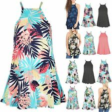 Ladies Multi Prints Cami Sleeveless Strappy Top Womens Flared Dress Plus Size