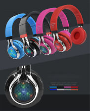 LED Glowing Foldable Bluetooth Earphone Stereo Music Headset Support FM Radio TF