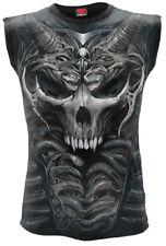 Spiral Skull Armour, Allover Sleeveless T-Shirt Black|Skull|Blood|Horror