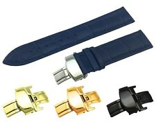 Navy Genuine Leather Croco Strap Band fit TISSOT Watch Clasp 18 19 20 21 22mm