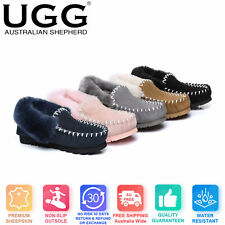 UGG AS Unisex POPO MOCCASIN Australian Sheepskin Slippers Double Sole Non-Slip