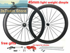 45mm Dimple Carbon Wheel Tubeless Ready Road Bike Wheel Clincher/Tubular 700C