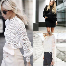 Fashion Summer Women Casual Lace Long Sleeve Ladies Shirt Loose Tops Blouse