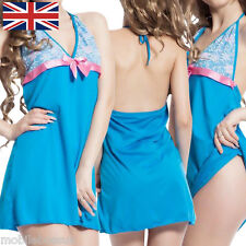 UK Women Ladies Sleepwear Nightwear Underwear Blue Babydoll Lingerie G string