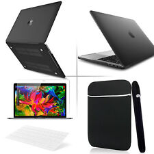 4-IN-1 Black Rubberized Hard Case+KB Cover +Soft Bag for Macbook Pro Air 11 13