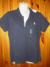 POLO Ralph Lauren ladies' skinny fit polo shirt in navy blue 2 sizes RRP: £75
