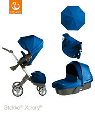 Stokke Xplory ® v4 Cobalt Blue Package (Carry Cot + Cup holder + Parasol + Bag)