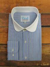 Stripe Club Collar 1930s 40s Vintage Style All Cotton Peaky Shirt Gold Top Stud
