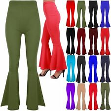 Womens Ladies High Waisted Ruffle Frill Bell Bottom Palazzo Cigarette Trousers