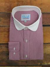 Red Stripe Club Collar 1930s 40s Vintage Style All Cotton Peaky Blinders Shirt
