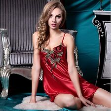 Sexy Nightgown Women Silk Satin Nighties Sleeveless Embroidery Night Dress
