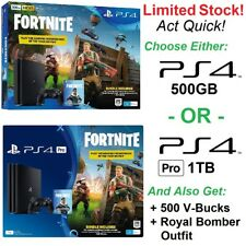 Sony Playstation 4 PS4 Console Pack w/ Fortnite Royale Bomber Outfit 500 V-Bucks