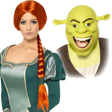 Shrek Mask or Fiona Wig Adults Fancy Dress Cartoon Book Day Costume Accessories