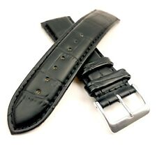 Black Leather Replacement Watch Strap Padded Croc Crocodile 18mm 20mm or 22mm
